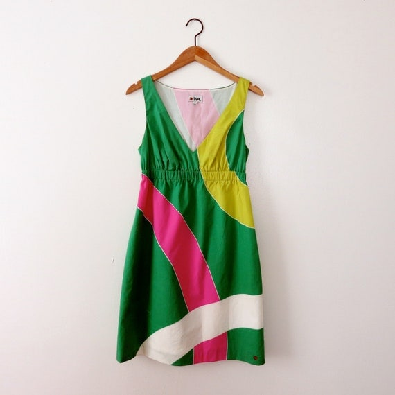 Vintage Vera Neumann Geometric Dress with Ladybug - Womens Size 6 - Pink, Green, and White, Small