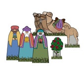 The Wise Men and Camels Creche - Digital PDF Download - Paper Cut-Out DIY Craft Kit - No Shipping Required