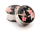 Vintage Floral Picture Plugs Style 5 gauges - 16g, 14g, 12g, 10g, 8g, 6g, 4g, 2g, 0g, 00g, 7/16, 1/2, 9/16, 5/8, 3/4, 7/8, 1 inch