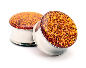 "Embedded Pumpkin Glitter Plugs gauges - 00g, 7/16"", 1/2, 9/16, 5/8, 3/4, 7/8, 1 inch"