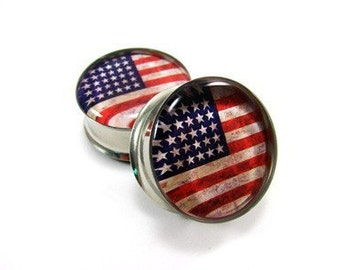 American Flag Picture Plugs gauges - 1 1/8, 1 1/4, 1 3/8, 1 1/2 inch