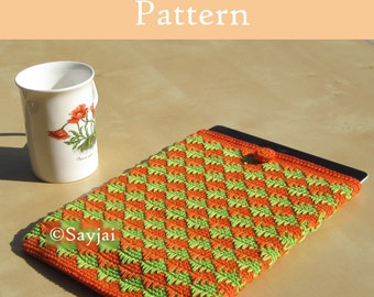 ENGLISH Instructions - Instant Download PDF Crochet Pattern Orange & Green iPad Case