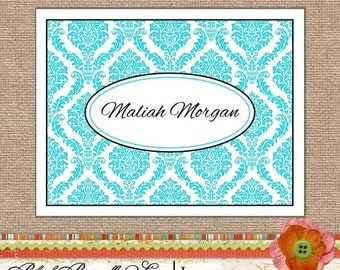 Note Cards - Notecards Personalized Stationery Folded Note Card Set of 10- Aqua Damask Great Gift or Stocking stuffer