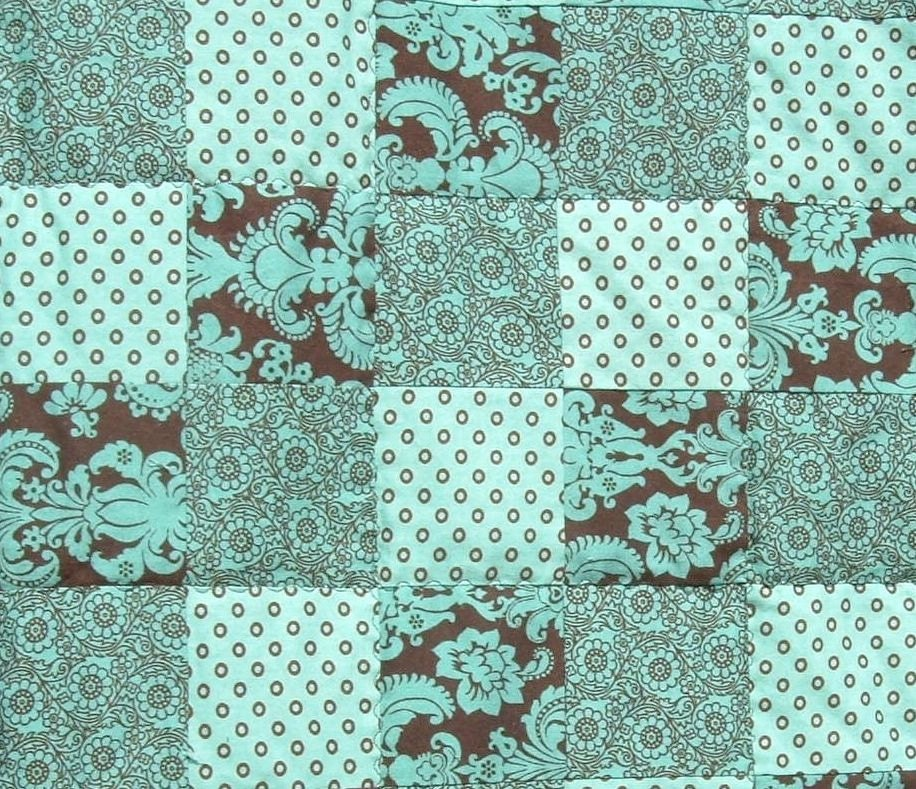 Twin Quilt In Mint Green And Brown