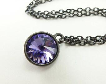 Purple Crystal Necklace Purple Necklace Dark Silver Modern Minimalist  Rivoli