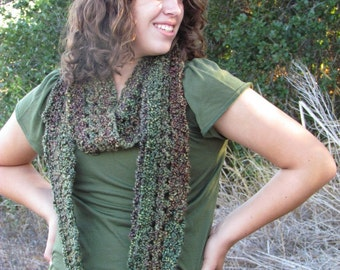 Green Multicolored Infinity / Loop / Eternity Scarf - Long, Wide, Soft