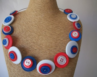 BUTTON Necklace - Great British Colours - Red, White and Blue button MEMORY wire NECKLACE