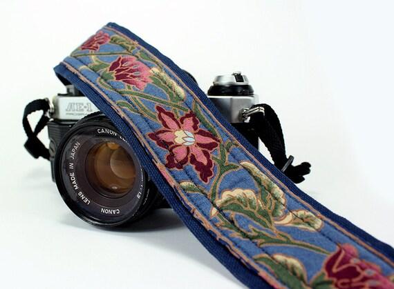 Camera Strap, Blue Floral, Rose, Navy, Olive Green, dSLR, SLR, Padded