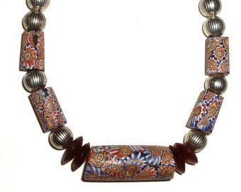 "AFRICAN TRADE bead necklace-ANTIQUE Venetian Millefiori beads-16 3/4"",  silver, royal blue, rust, marigold, cranberry"