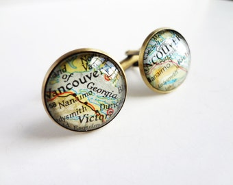 Custom Cuff Links, Bronze Gift for Men, Anniversary Gift, Map Cufflinks