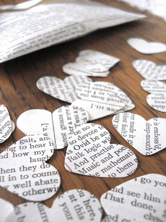 Shakespeare Confetti, Book Confetti, Recycled Books, Wedding Decoration Ideas, Table Confetti, Wedding Decorations