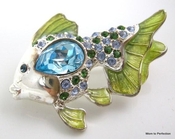 Vintage Brooch Signed Monet Angel Fish
