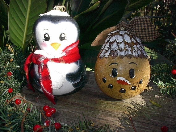 Items Similar To Gourd Snowman Penguin Christmas Ornaments