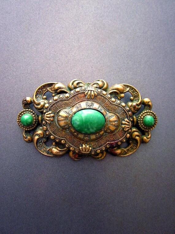 Art Nouveau Brooch Peking Glass