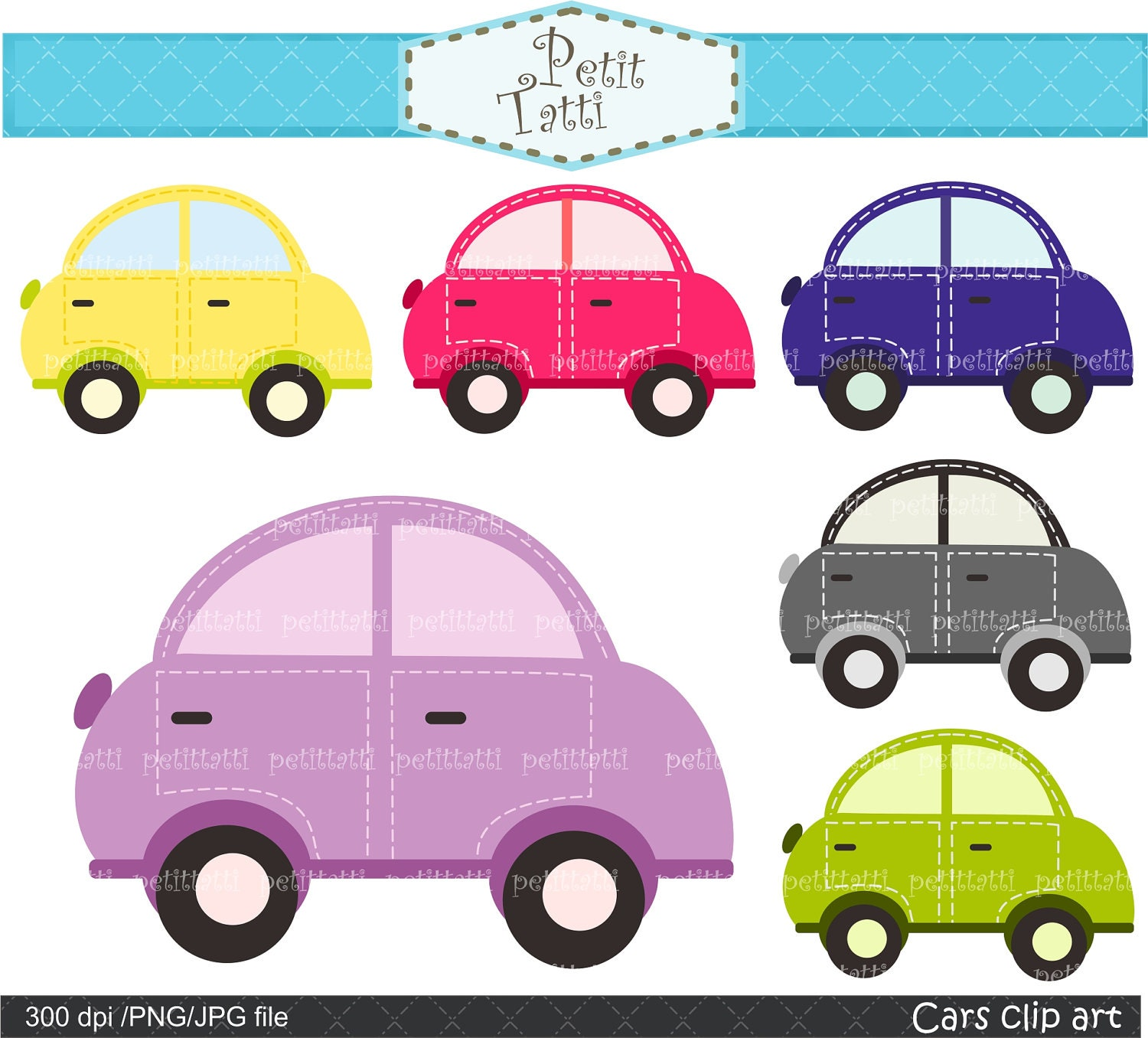 clip cute clipart digital cars pink purple instant surf etsy truck bus 1356 1500 van zoom owl