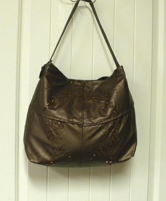 Handmade Metallic Bronze Leather jacket Handbag - Hobo Bag - Tote