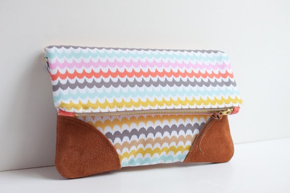 Fold Over Clutch / Bright Scallop with Suede Corners