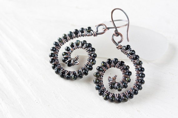 Small spiral earrings - black earrings, wire wraped spiral copper earrings with black glass seed beads, dangle earrings, neo tribal earrings