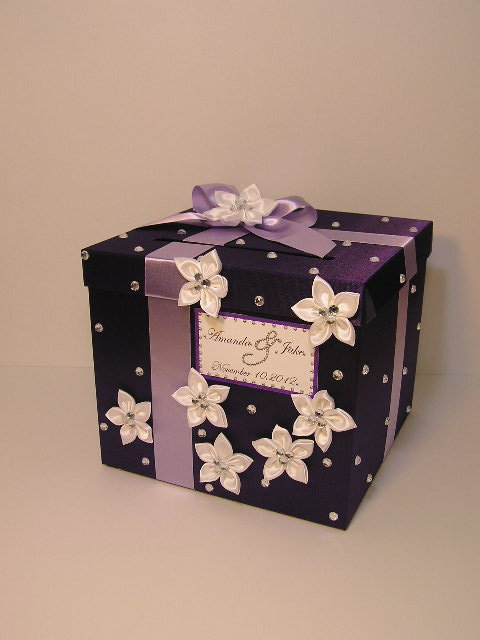 Wedding Gift Card Box Uk : Wedding Card Box Purple and Lavender Gift Card Box Money Box