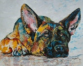 """German Shepherd print 11"""" x 14"""" with mat dog puppy small art print limited Edition signed"""
