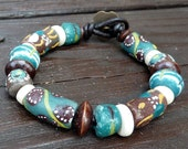 Teal Recycled Glass Bracelet - Teal Recycled Glass Krobo Beads, Brown Glass, Fair Trade Bracelet