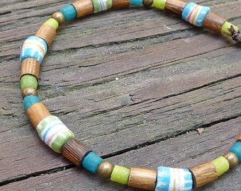 Striped Stacking Bracelet - Turquoise Blue Recycled Glass Bead, Lime Green Recycled Glass Bead, Wood Bead Bracelet