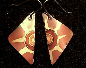 Small triangular copper earrings,  red copper jewelry
