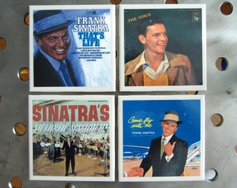"Frank Sinatra ""Chairman Of The Board""  Rock n Roll Record Album Art  Tile Drink Coasters 4 Piece Set"