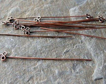 Handmade solid antique copper trefoil head pins x 10 MADE TO ORDER, copper head pins, antique copper head pins