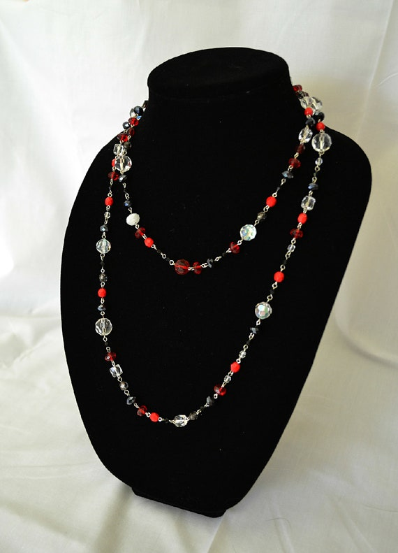Sale 15% off Georgia inspired crimson red and black hand beaded long necklace