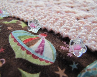 Ornament Stocking with a Knitted Pink Cuff - Ready to Ship