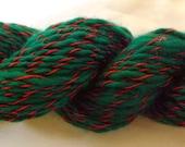 Christmas Presence - Handspun Wool Yarn, Cotton Ply - 84 yds, Worsted