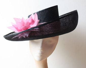 Black & Pink Upturned Brim Hat -Great for Weddings and Races can be made in other colours