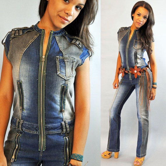 80s Vintage denim jumpsuit / Futuristic Avant Garde Zippered Vintage DENIM JUMPSUIT Marithe francois girbaud M / Medium