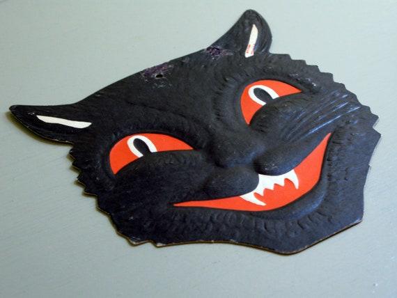 vintage Halloween black cat die cut Beistle