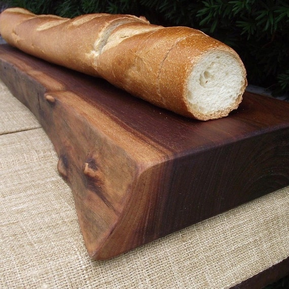 Wood Cutting Board - Extra Thick Rustic Black Walnut Wood Baguette Board with Natural Edge - Unique Wedding or Housewarming Gift