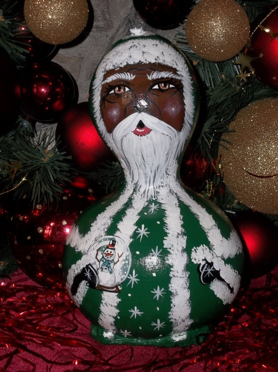 African american green santa claus gourd for American christmas decorations