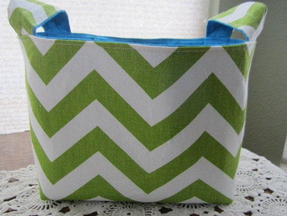 Reversible Organizer Fabric Chevron Lime Green ZIg Zag with Turquoise lining  Bin Basket Storage