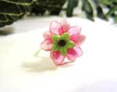 Children's Pink and Lime Green Flower Wire Wrapped Ring