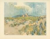 Scotland, Iona Cathedral, Vintage Print (91) 1952, Stewart Orr, Britain World War 2, War Artist, WW2