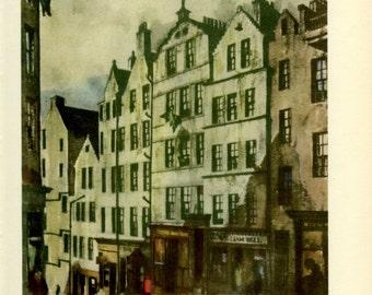 Edinburgh, The West Bow, Scotland, Vintage Print, 1952, Scottish Tenements, Scottish Architecture, Britain World War 2, WW2
