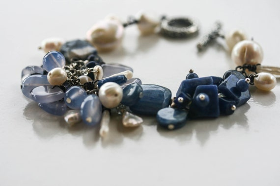 Blue stone and pearl bracelet Charmed at Sea