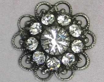 Crystal rhinestone flower Clear  Swarovski Antique Silver Filagree Bead sbg