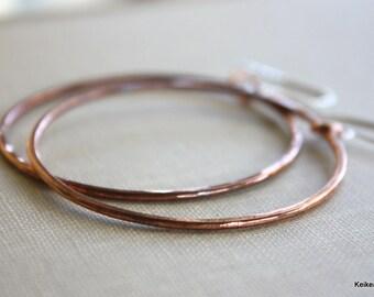 Hoop Earrings, Large Hoops, Hammered Large Copper Hoop Earrings 14k Gold Filled Handmade Jewelry