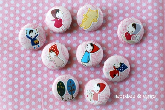 Little Riding Hood Fabric-Covered Buttons (Set of 9 Buttons)