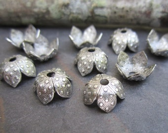 6 PC  Antique Silver Plated Brass Dotted 8mm Bead Caps