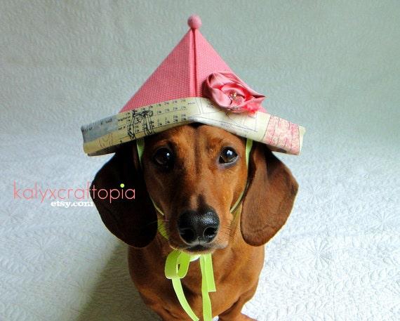 Pink Gingham Dachshund Hat - Folded Origami Birthday hat