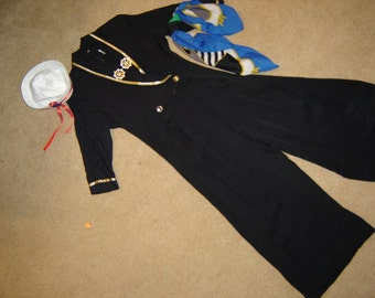 Costume Military sailor jump suit navy hat  womens sz 10 Halloween