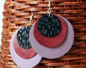 Circle Leather Earrings in Black Red and Lilac - Handmade Earrings