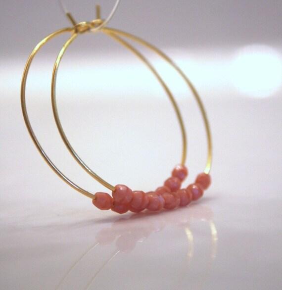 Coral . Beaded Hoops . Pink Faceted Beads . Vermeil Gold Hoop Earrings . Gold Jewelry